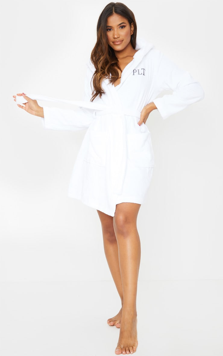 PRETTYLITTLETHING White Hood Detail Towelled Dressing Gown 1