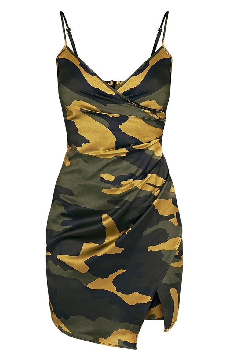 Lilly Khaki Camo Print Wrap Over Slip Dress 3