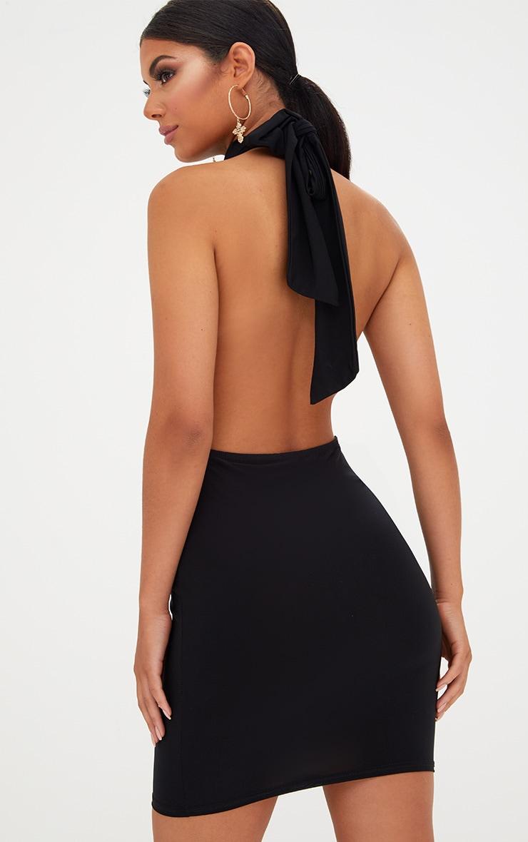 Black Slinky High Neck Bodycon Dress 2