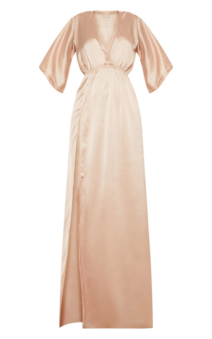 Champagne Satin Split Leg Maxi Dress 3