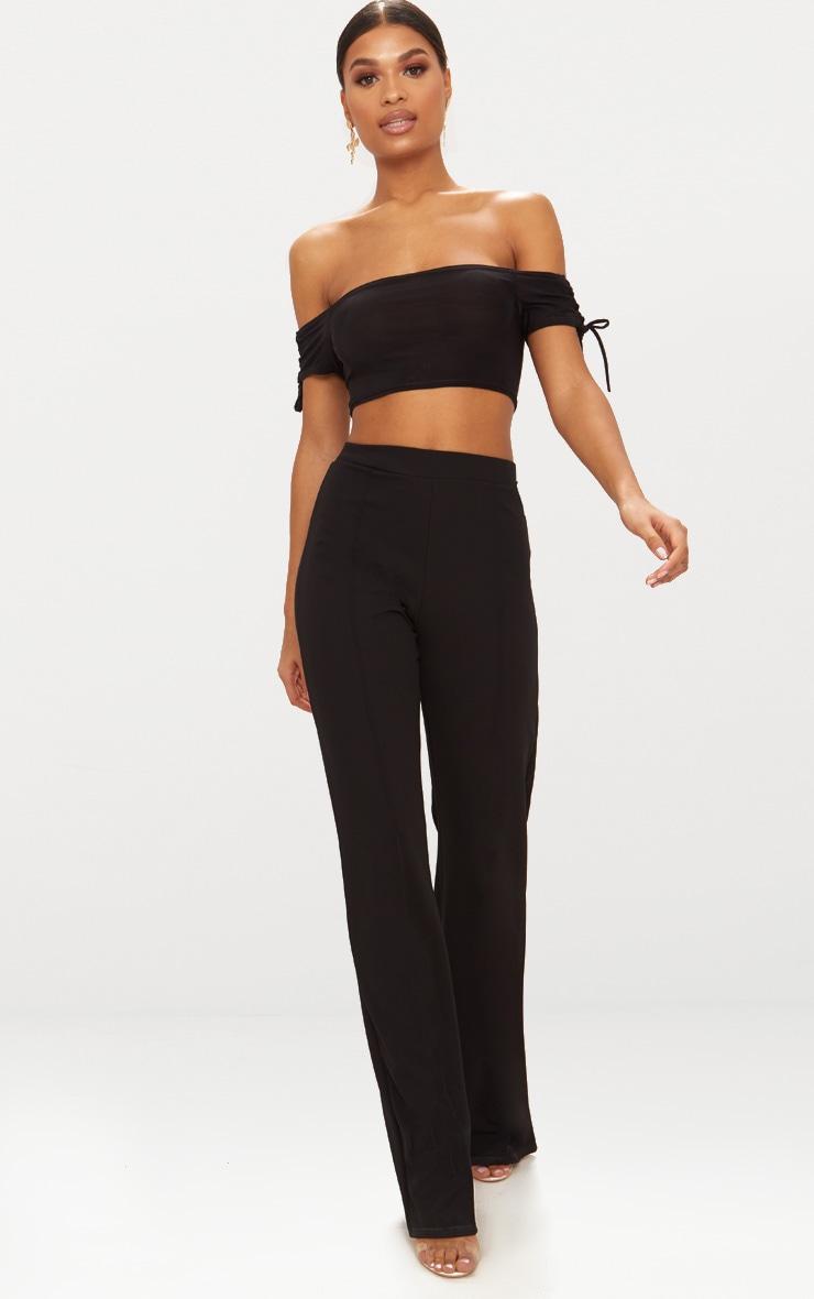 Black Slinky Lace Up Sleeve Bardot Crop Top  4