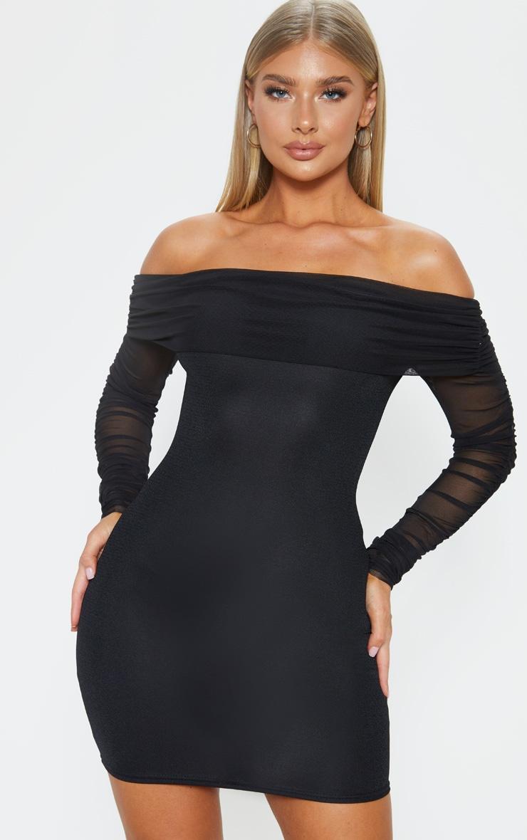 Black Mesh Sleeve Bardot Bodycon Dress 1