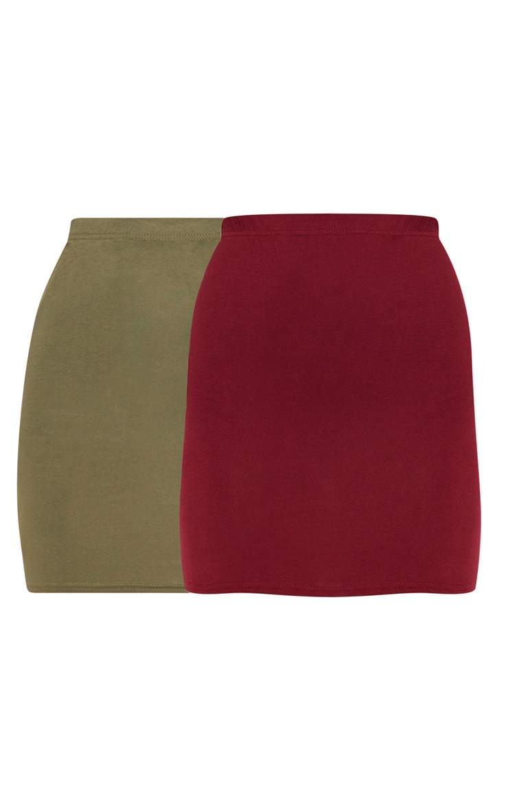 Burgundy and Khaki Jersey Mini Skirt 2 Pack 4
