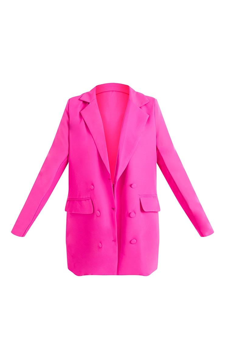 Pink Oversized Button-Down Woven Blazer 5
