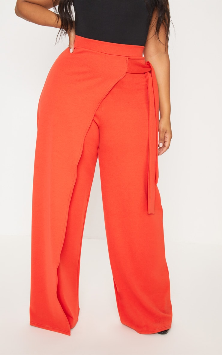 Plus Red Wrap Detail Extreme Wide Leg Trousers 2