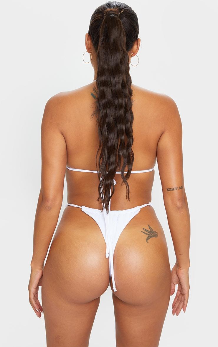 Shape - Bas de bikini échancré blanc crêpé à lanières ajustables 3