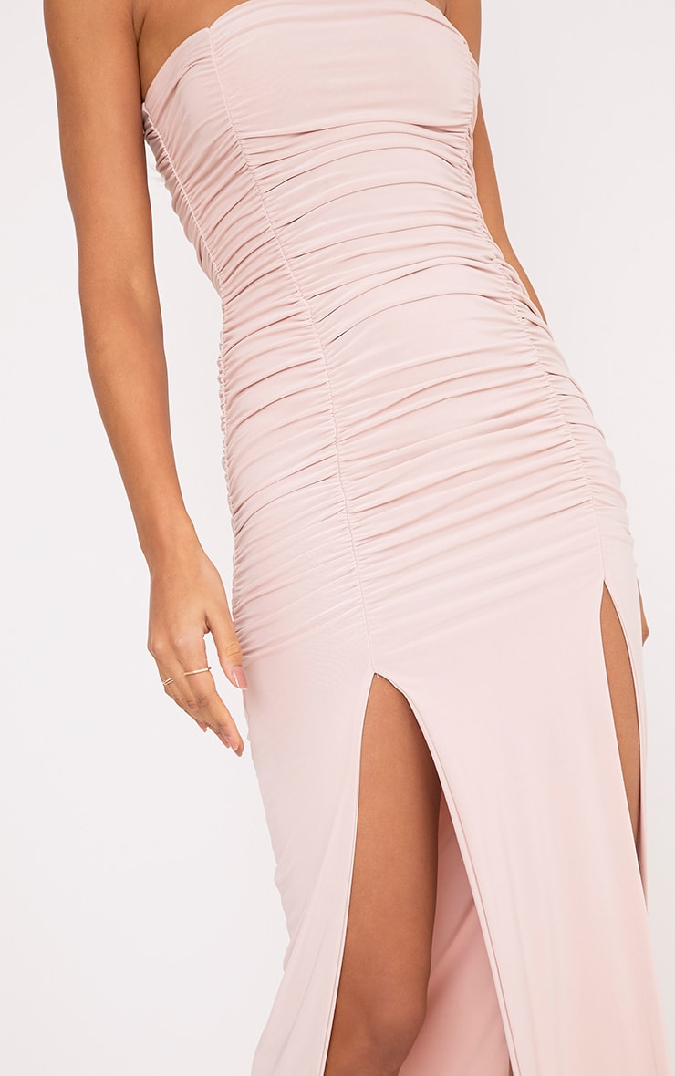 Nia Dusty Pink Ruched Detail Split Maxi Dress 5