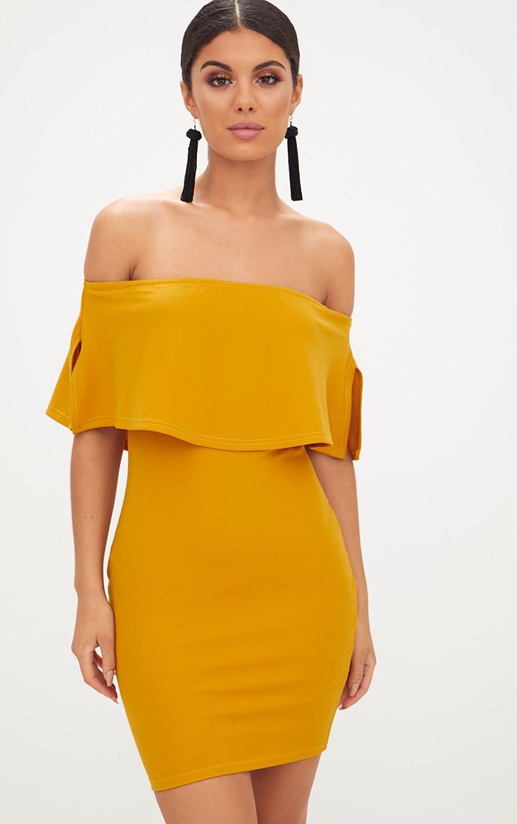 Robe moulante moutarde
