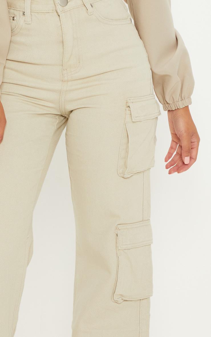 Petite - Jean cargo gris pierre à poches et jambes évasées 5