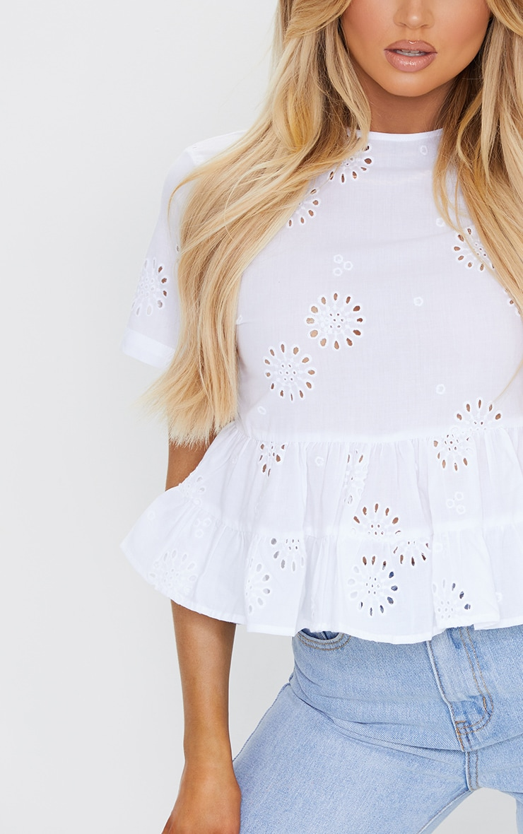 White Broderie Ruffle Smock Blouse 4