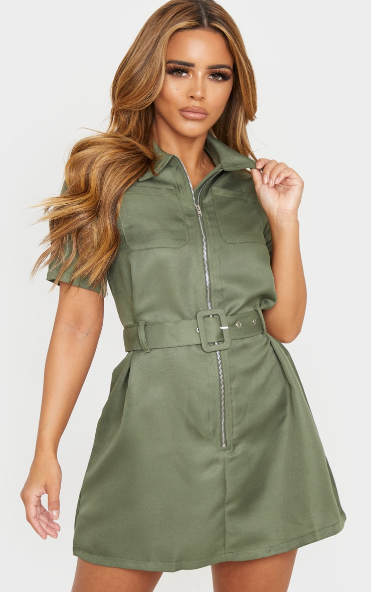 Petite Khaki Zip Detail Belted Utility Dress 1