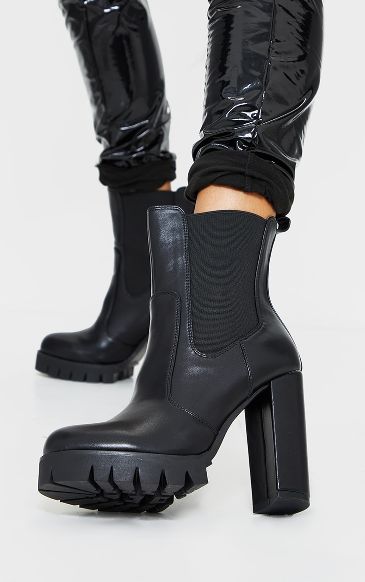 Black Contrast Stich Chucky Cleated Sole High Heels Chelsea Boots 2