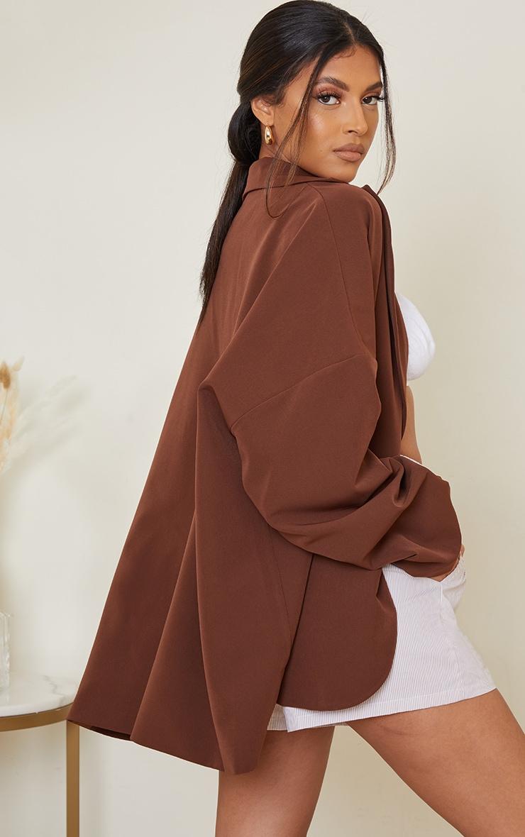 Chocolate Woven Drop Shoulder Oversized Dad Blazer 2