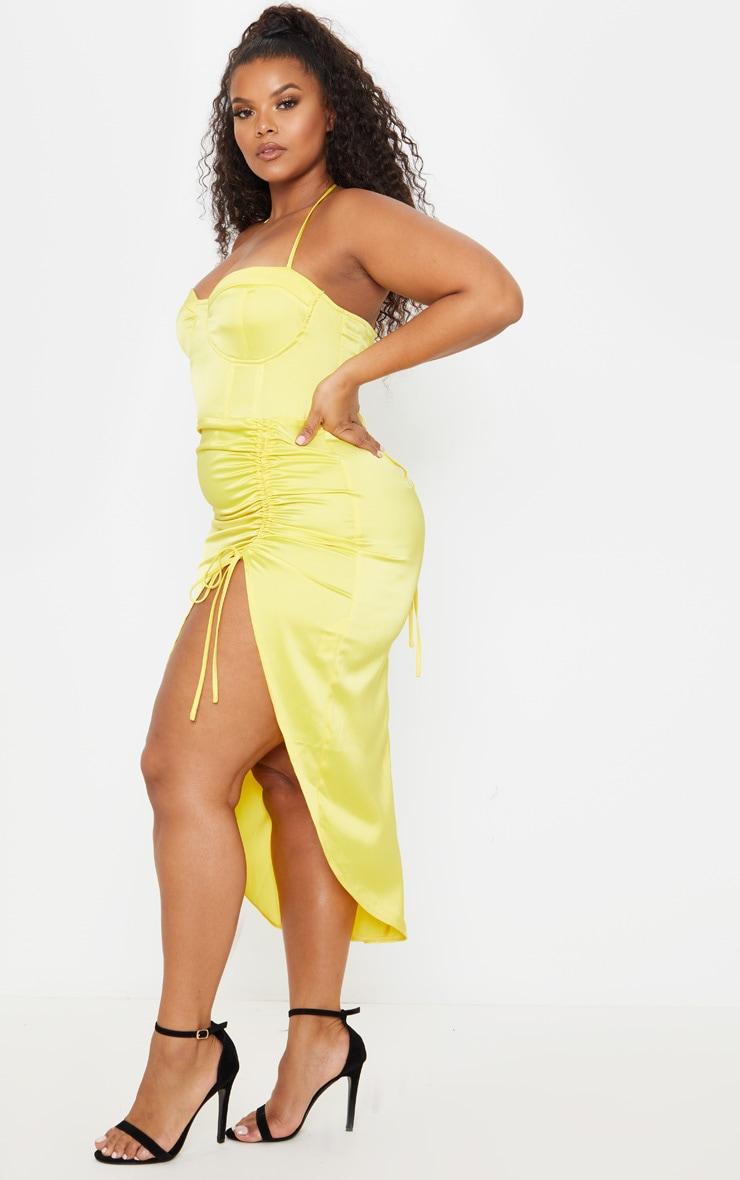 Plus Yellow Satin Corset Detail Ruched Side Midi Dress 5