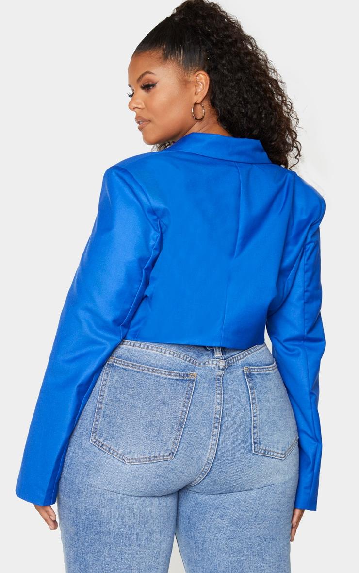 Plus Cobalt Cropped Woven Blazer 2