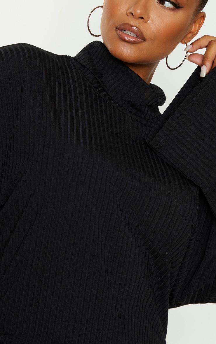 Plus Black Wide Rib High Neck Oversized Jumper Dress 5