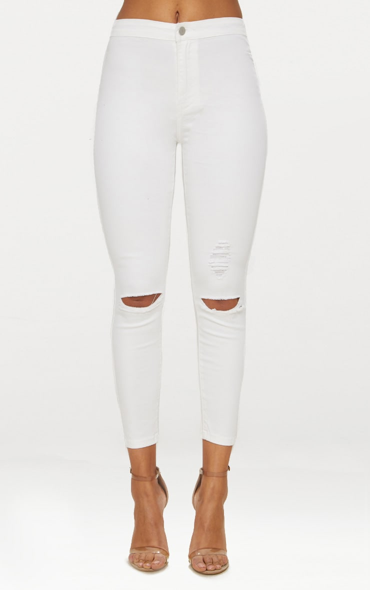 White Distressed Knee 5 Pocket Skinny Jean 2