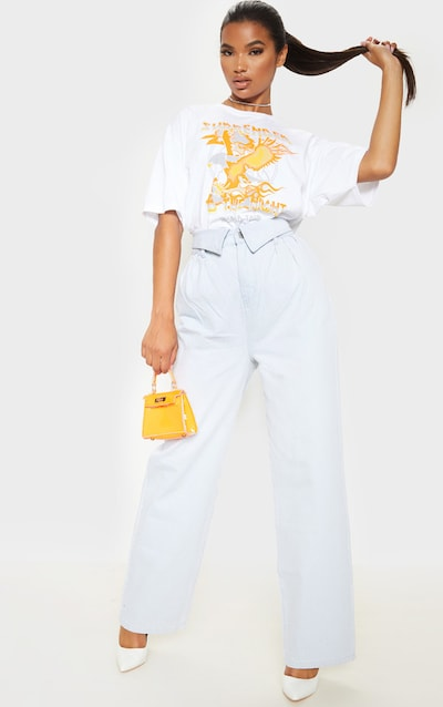 Bleach Wash Envelope Paperbag Baggy Jeans