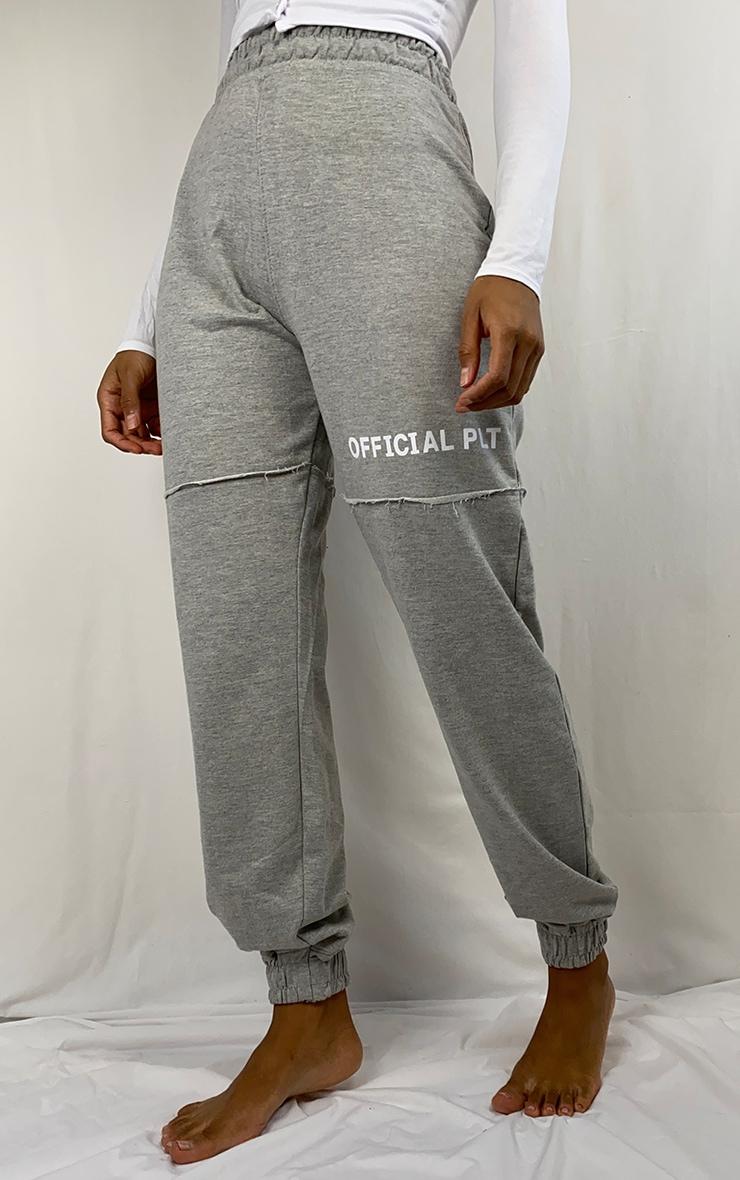 Grey Slogan Raw Edge Joggers 2