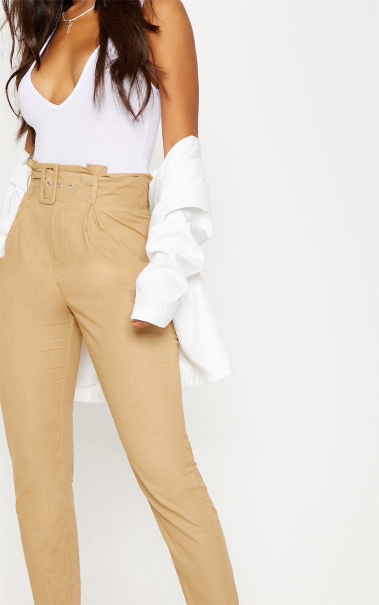 Stone Belted Paperbag Tapered Trouser 5