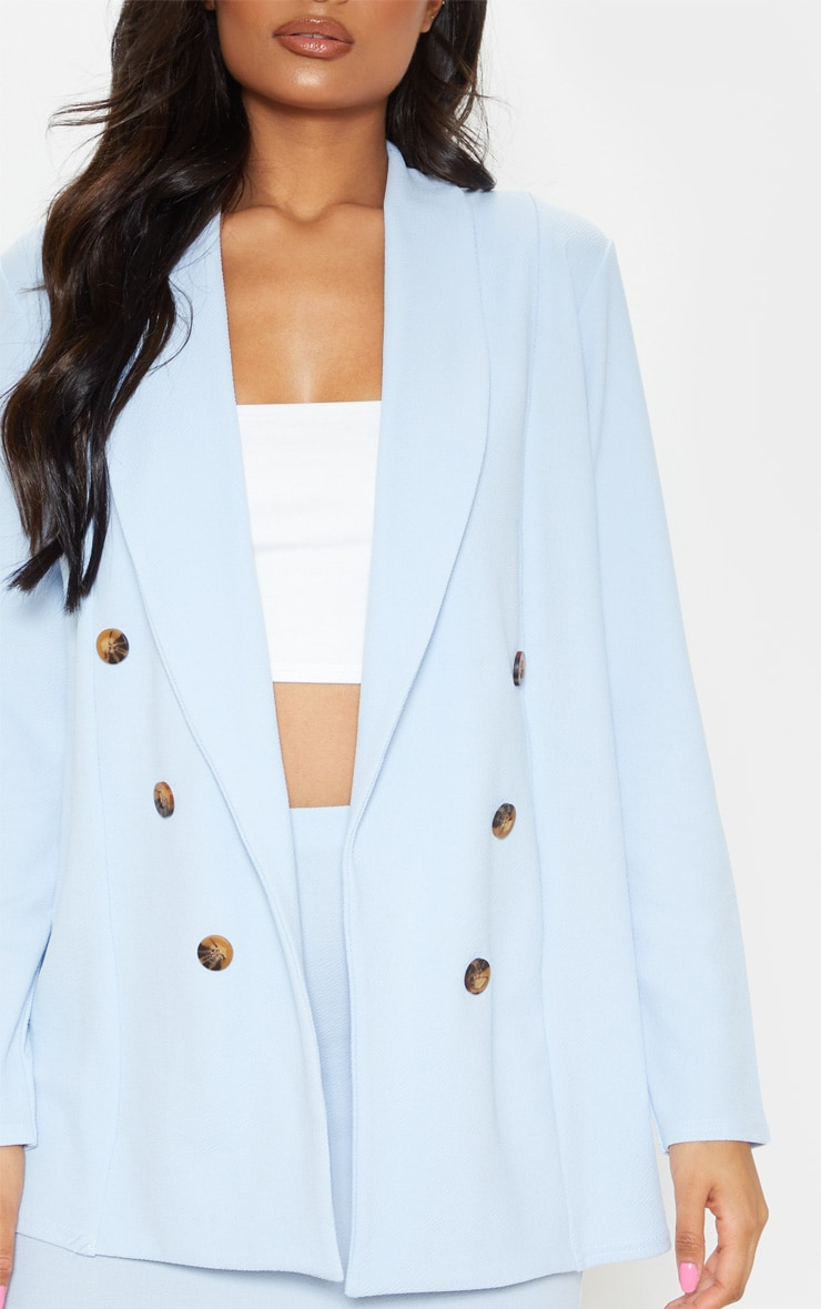 Baby Blue Oversized Button Detail Blazer  5