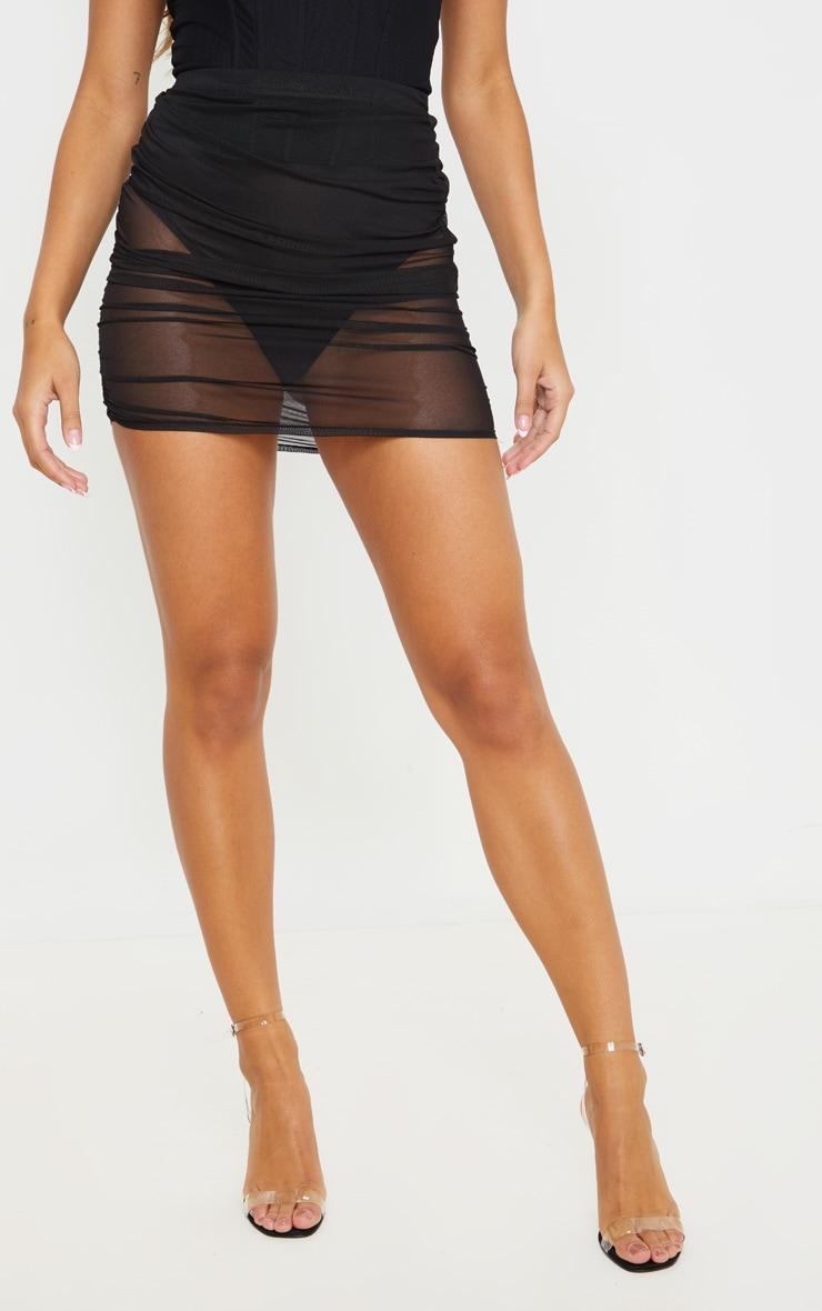Black Mesh Ruched Mini Skirt 2