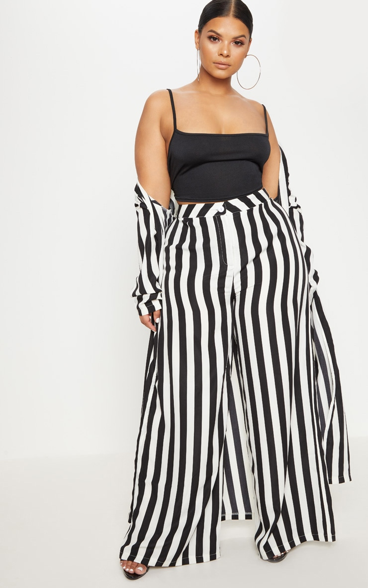 Plus Black Striped Wide Leg Trousers    1