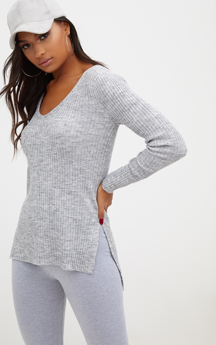 Grey Rib V Neck Jumper 1
