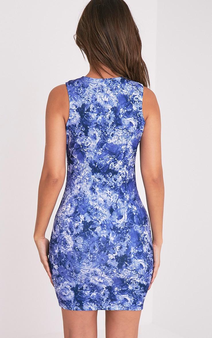 Kamaya Blue Oriental Print Racer Neck Mini Dress 1