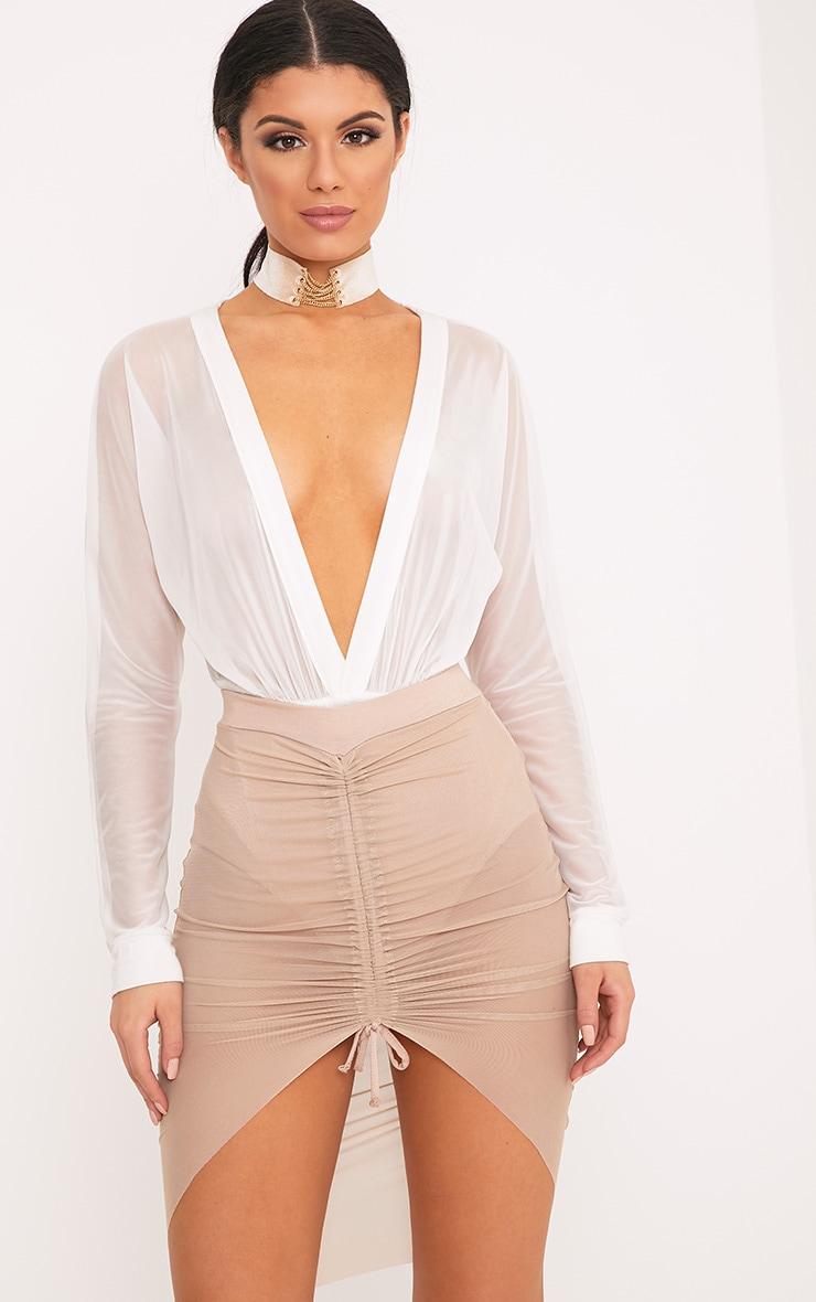 Charla Nude Ruched Mesh Mini Skirt 1
