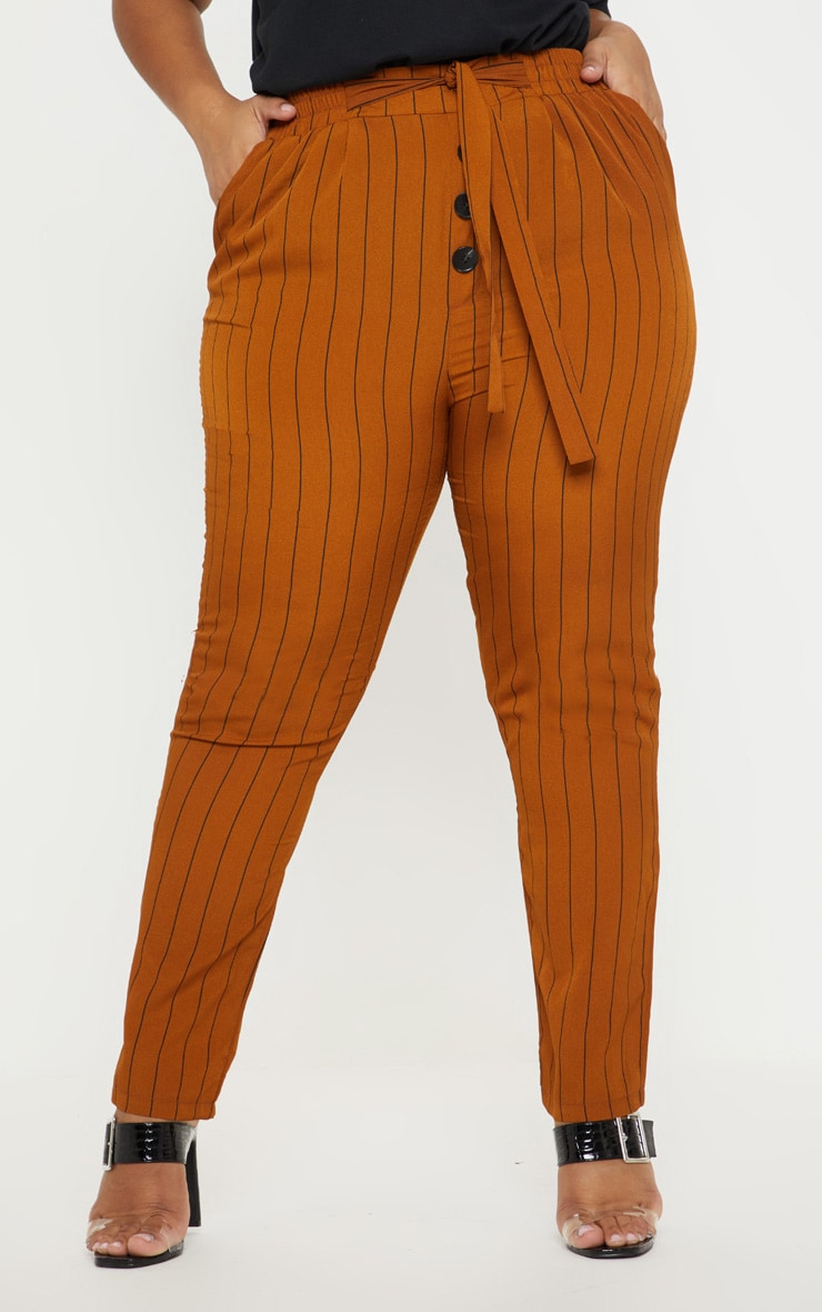 Plus Brown Pinstripe Button Detail Casual Trouser 2