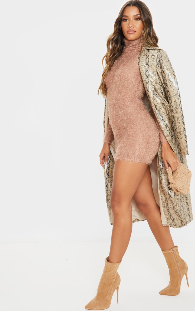 Camel Eyelash Cowl Neck Bodycon Sweater Dress 5