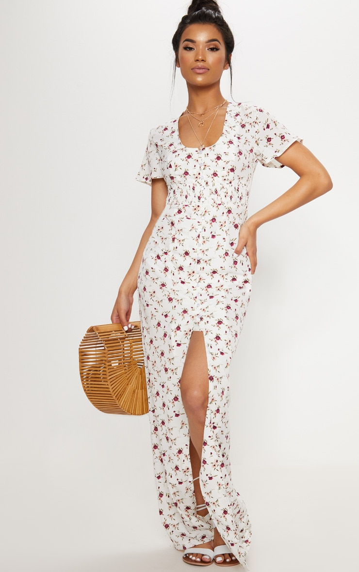 White Floral Button Detail Maxi Dress 1