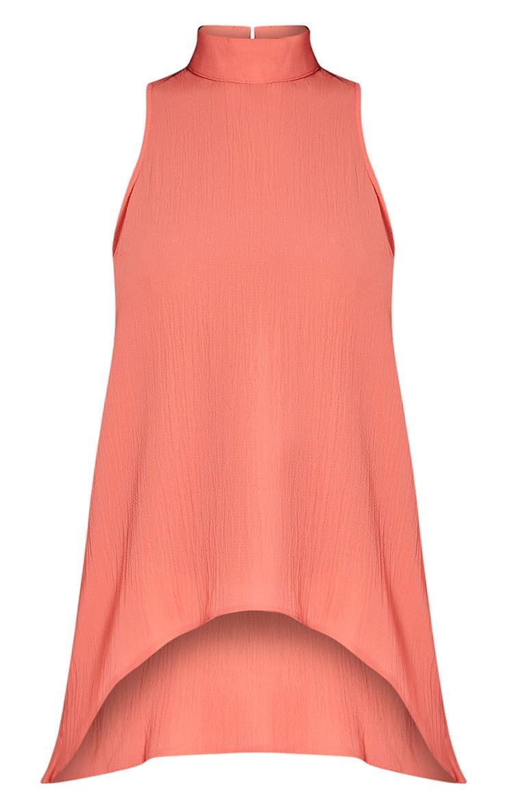 Celise Coral Curved Hem Shift Top 2