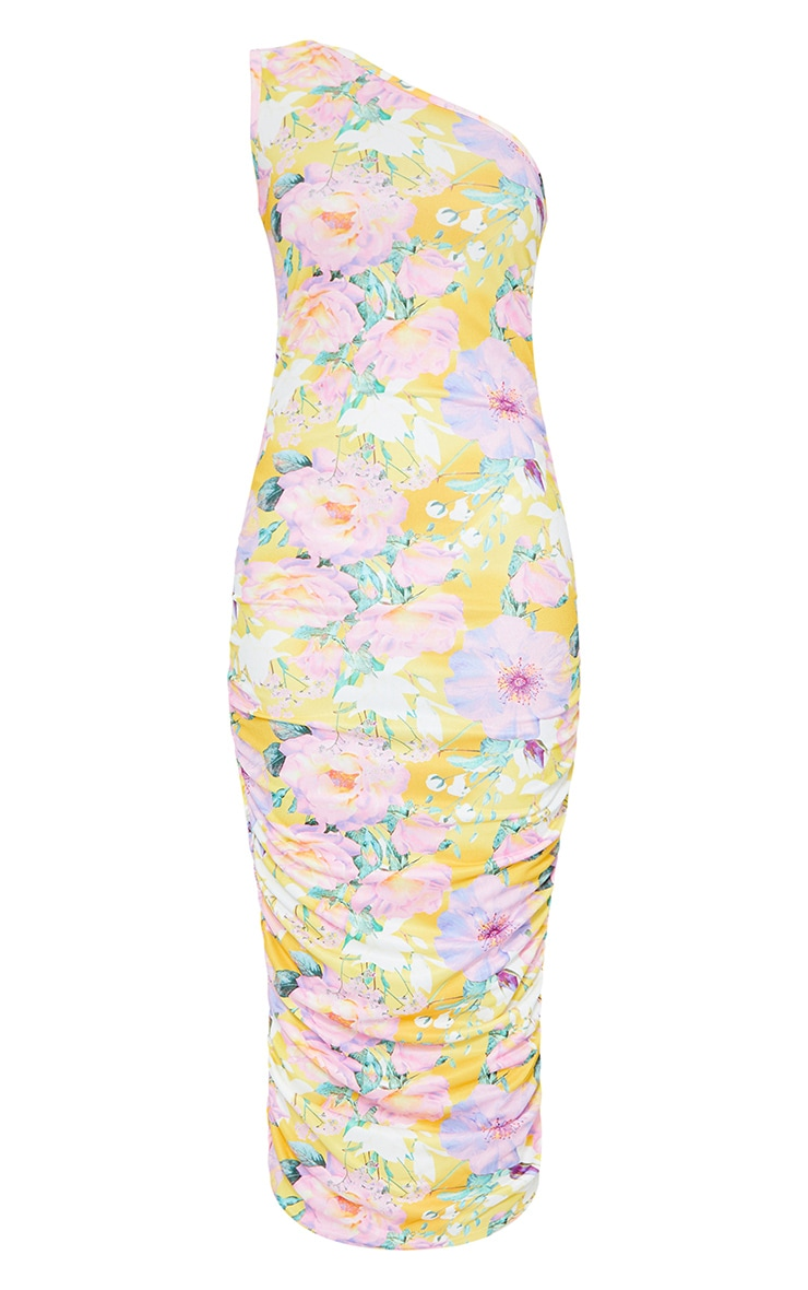 Yellow Floral One Shoulder Ruched Midi Dress 5