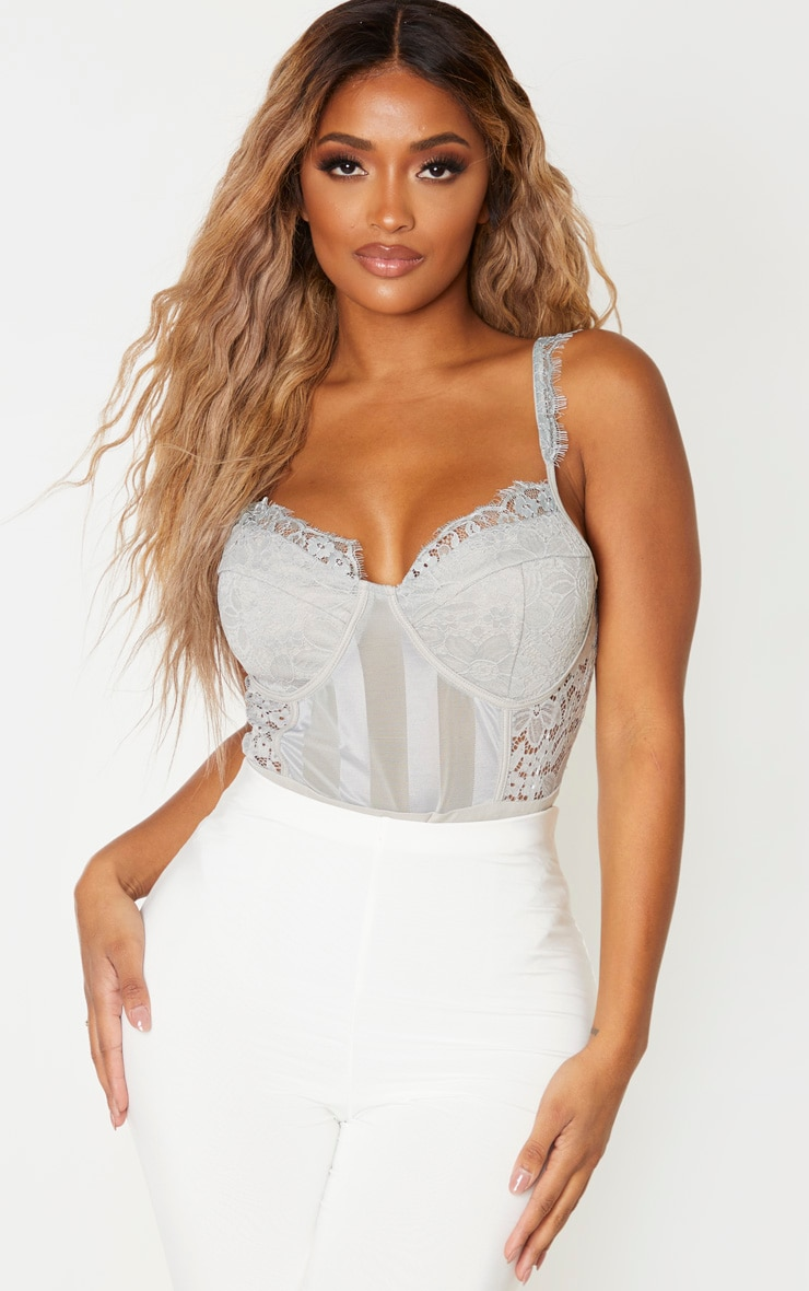 Shape Silver Lace Mesh Stripe Bodysuit 1