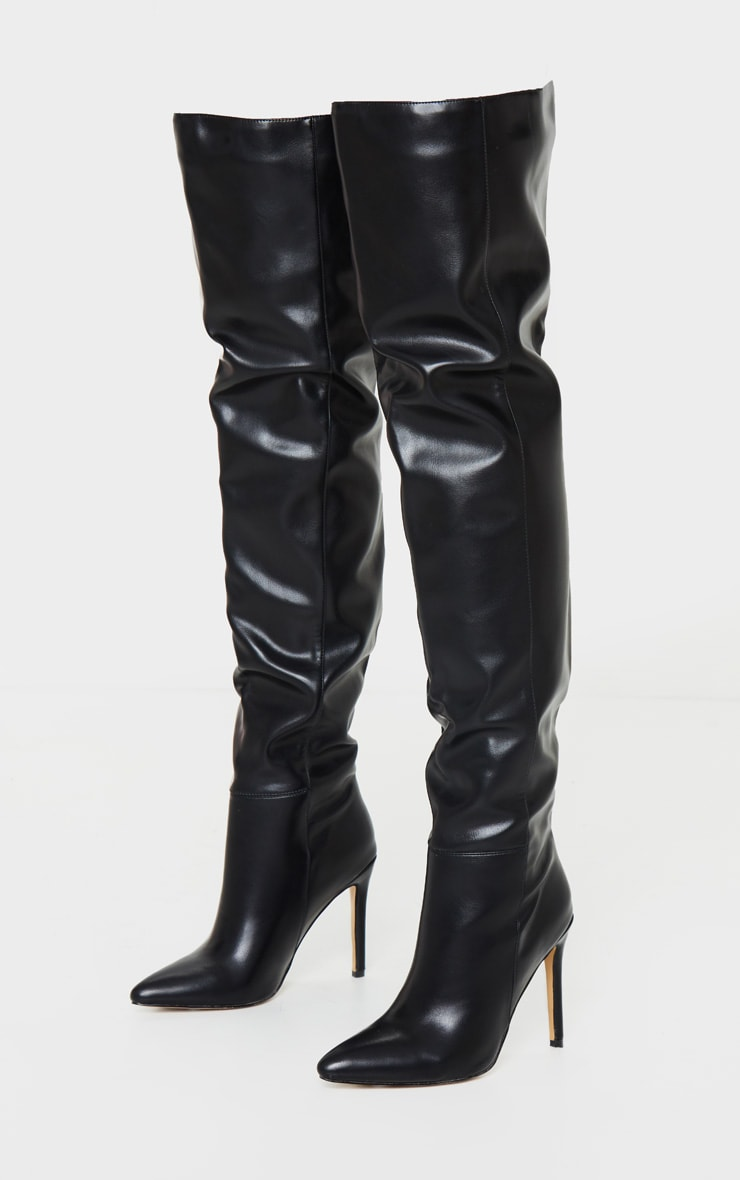 Black Thigh High Stiletto Boots 3