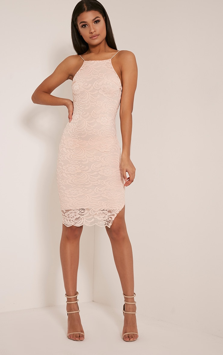 Maddie Nude High Neck Lace Midi Dress 1