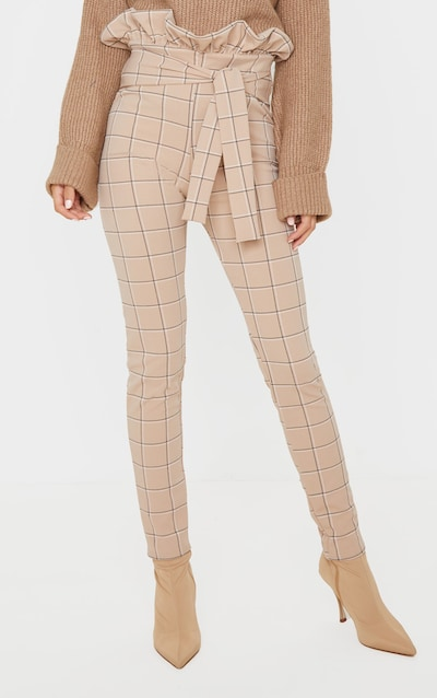 Stone Check Tweed Check Paperbag Skinny Trousers