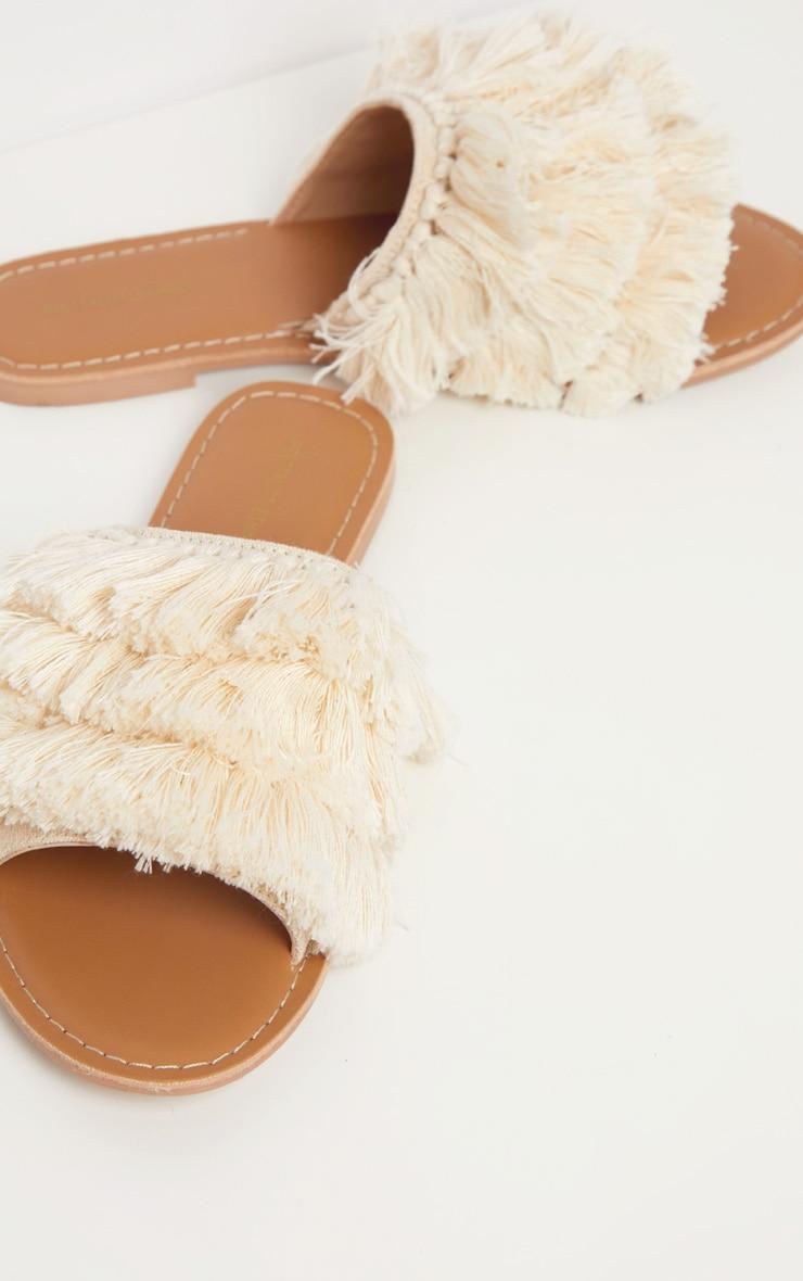Cream Fringe Mule Sandal 2