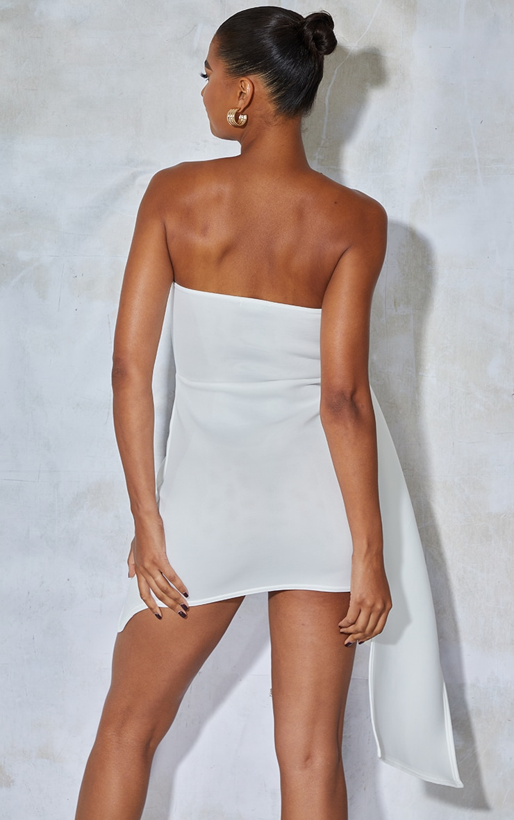 White Bonded Scuba Ruffle Wrap Bodycon Dress 2