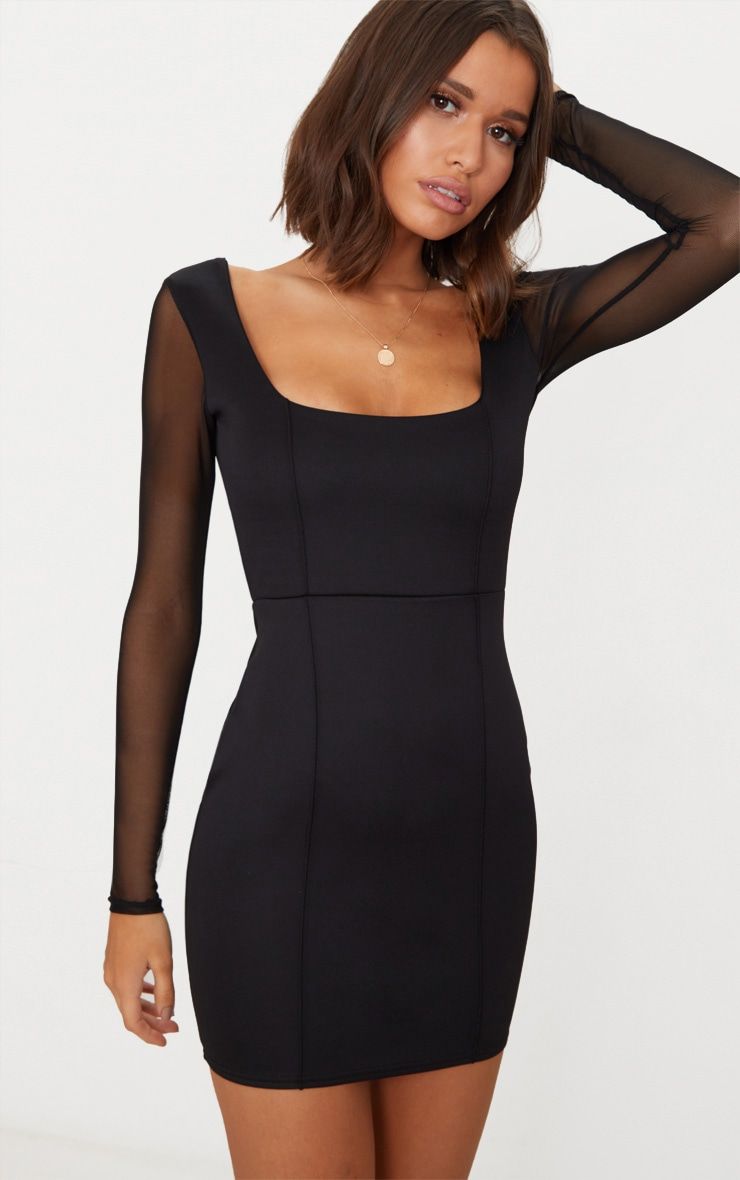 Black Square Neck Mesh Sleeve Panelled Bodycon Dress 1