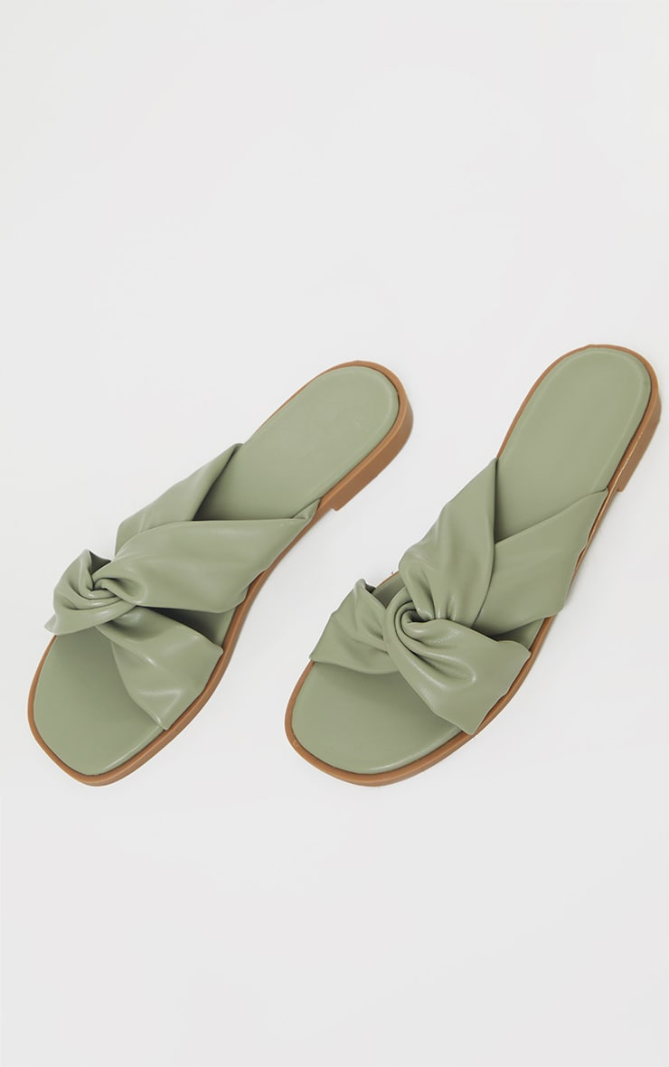 Sage Green PU Knot Detail Flat Mule Sandals 3