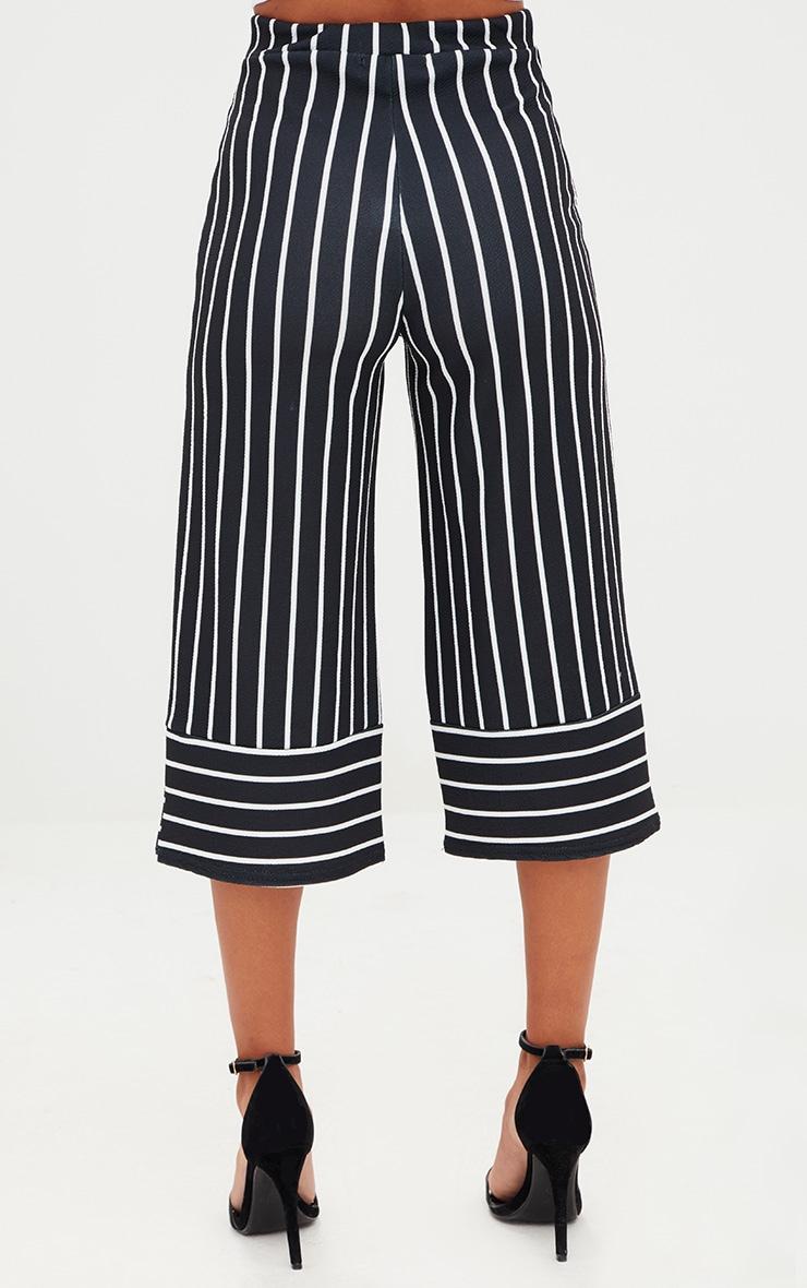 Petite Black Contrast Stripe Culottes 3