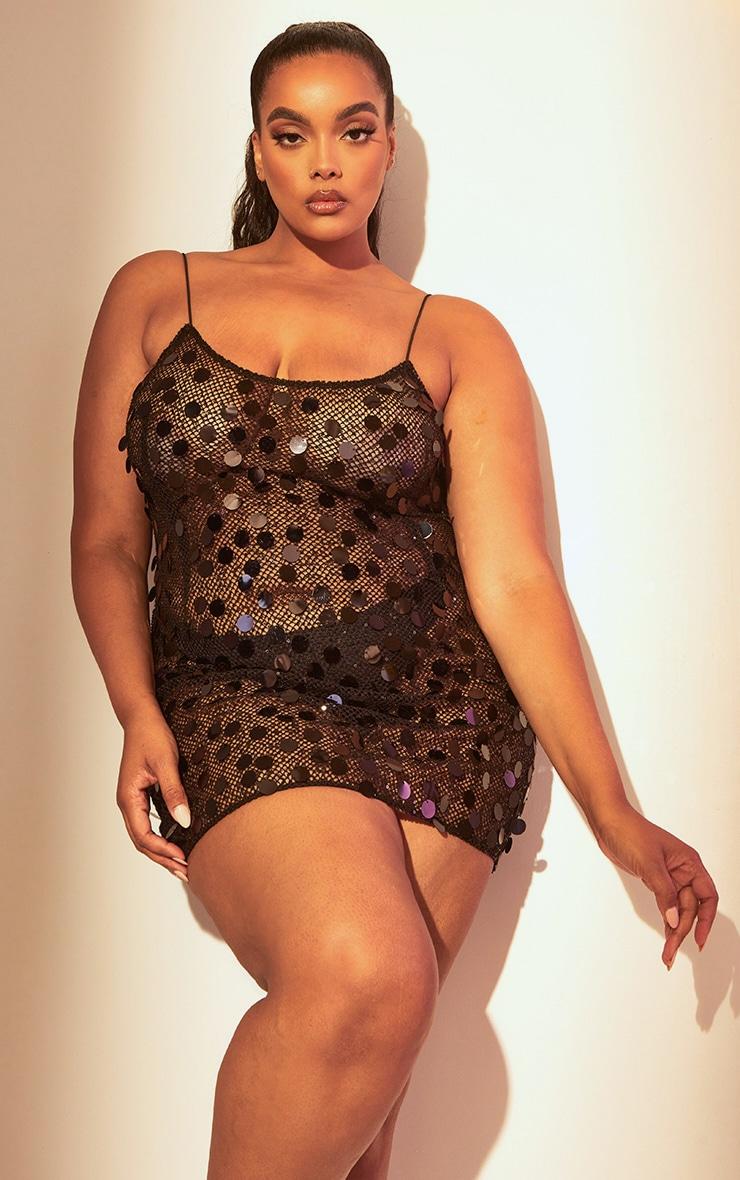 Plus Black Sequin Fishnet Bodycon Dress 1