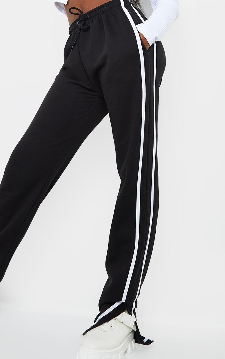 Tall Black Double Stripe Split Hem Joggers 4
