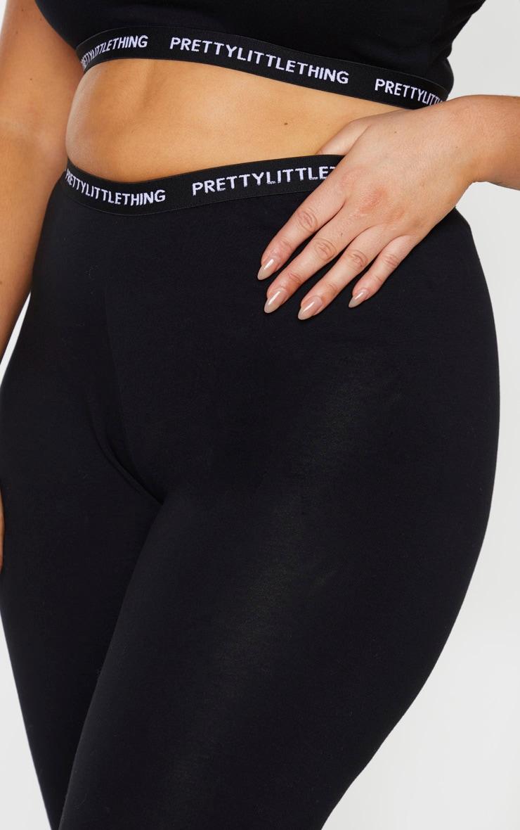 PRETTYLITTLETHING Plus Black Jersey Taping Leggings 4