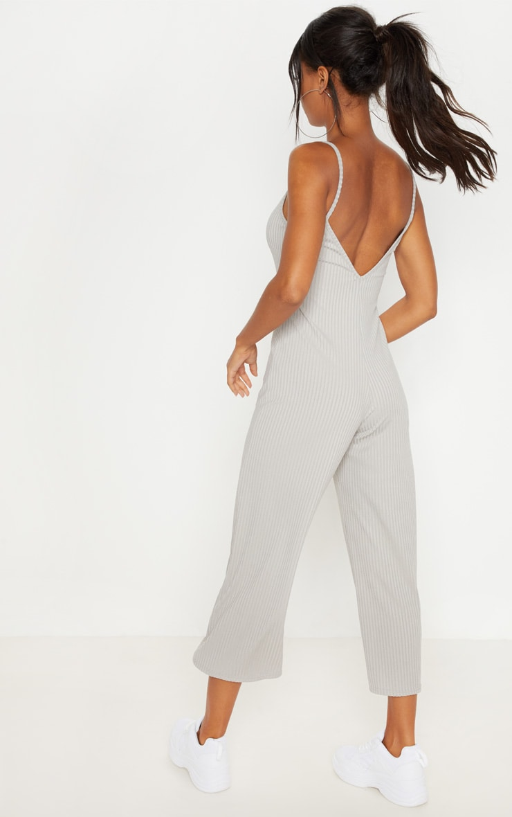 Grey Marl Ribbed V Neck Oversized Jumpsuit 2