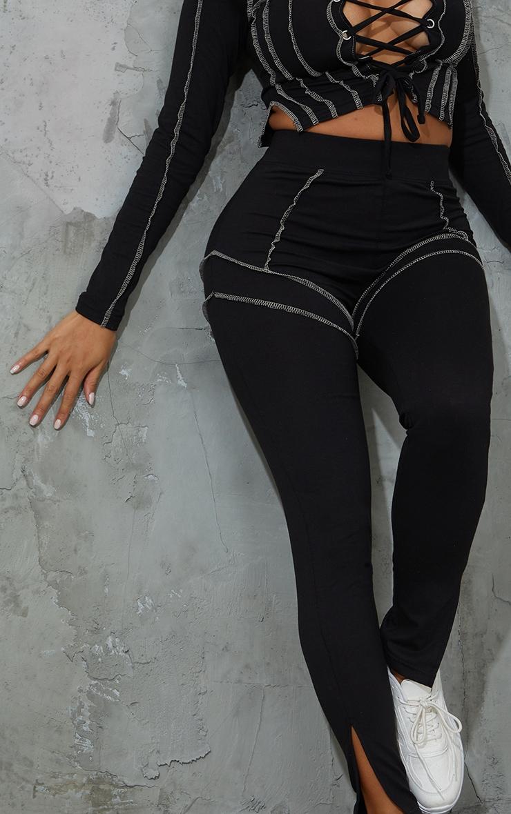 Shape Black Overlock Stitch Detail Split Hem Leggings 4