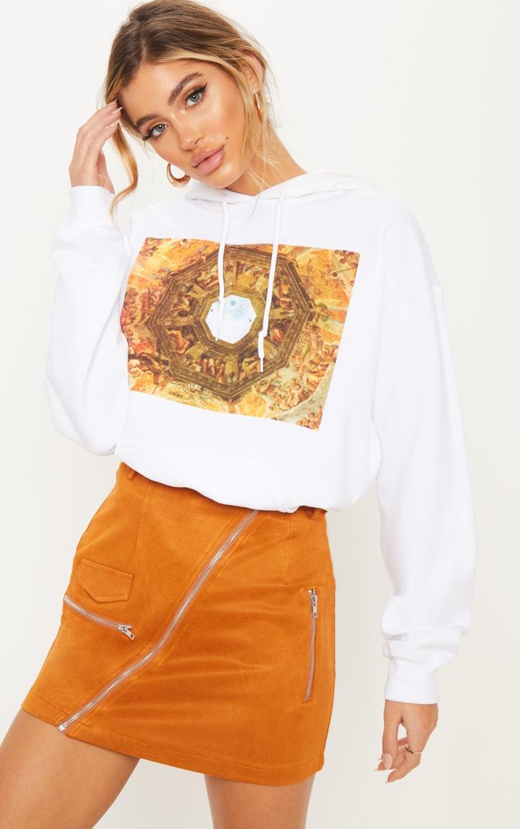 Rust Faux Suede Belted Biker Mini Skirt